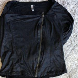 Black moto suede/cotton coverup light jacket zip